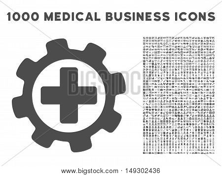 Gray Medical Settings icon with 1000 medical business glyph pictograms. Design style is flat symbols, gray color, white background.