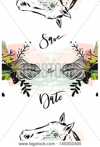Hand drawn vector abstract modern boho tropical minimalistic save the date card template with exotic palm leaf and graphic horses head in pastel and green colors.