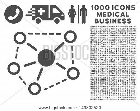 Gray Molecule Links icon with 1000 medical business glyph pictograms. Set style is flat symbols, gray color, white background.