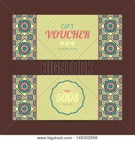 Gift voucher with eastern design. Coupon card template.