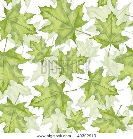 Green maple leaves. Watercolor painting. Seamless pattern. Background 8
