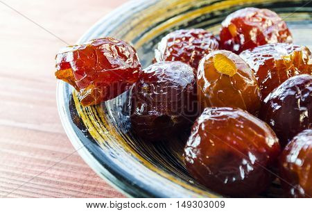sweet dried pitted dates on a plate