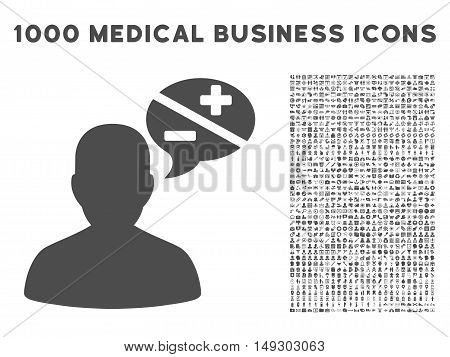 Gray Person Arguments icon with 1000 medical business glyph pictograms. Design style is flat symbols, gray color, white background.