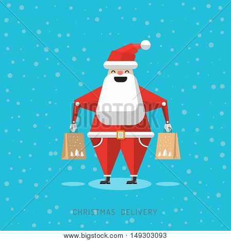 The character of Santa Claus delivering gifts. The concept of delivering the presents and the Christmas sales. Cartoon robot Santa Claus with gifts in his hands
