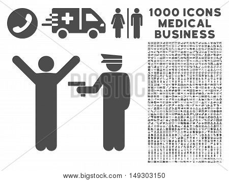 Gray Police Arrest icon with 1000 medical business glyph pictograms. Collection style is flat symbols, gray color, white background.