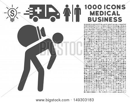Gray Porter icon with 1000 medical business glyph pictographs. Set style is flat symbols, gray color, white background.