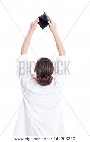 Back View Of Female Doctor Holding Her Wallet