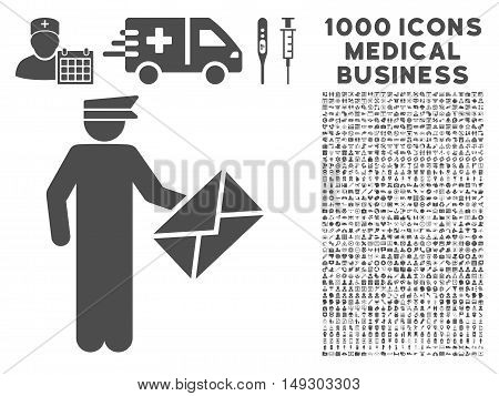 Gray Postman icon with 1000 medical business glyph pictograms. Set style is flat symbols, gray color, white background.