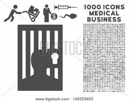 Gray Prison icon with 1000 medical business glyph pictograms. Collection style is flat symbols, gray color, white background.