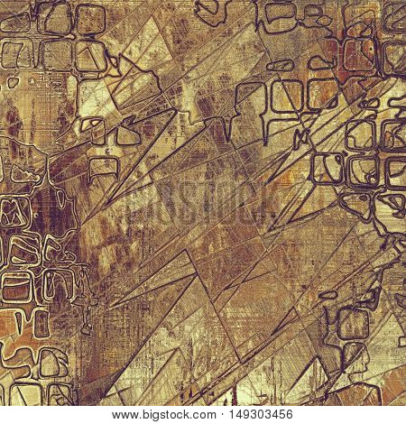 Geometric creative grunge background in vintage style. Faded shabby texture with different color patterns: yellow (beige); brown; gray; red (orange); purple (violet)