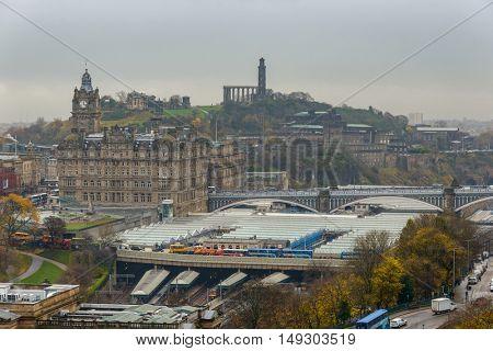 EDINBURGH, SCOTLAND - CIRCA NOVEMBER 2012: View on Edinburgh Waverley railway station from the castle esplanade.