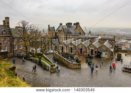 EDINBURGH, SCOTLAND - CIRCA NOVEMBER 2012: Edinburgh Castle is a historic fortress which dominates the city.