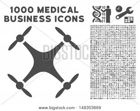 Gray Quadcopter icon with 1000 medical business glyph pictographs. Collection style is flat symbols, gray color, white background.