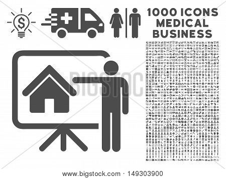 Gray Realtor icon with 1000 medical business glyph pictograms. Design style is flat symbols, gray color, white background.
