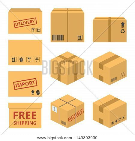 delivery service concept icon illustration vector, parcel for shipping with sign and symbol such as import, free shipping, delivery, flat design vector