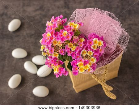 Beautiful bouquet of bright flowers. Lantana. Lovely small flowers.