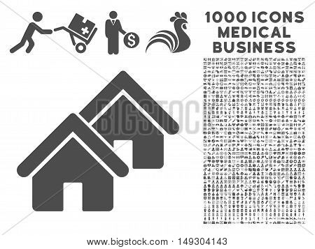 Gray Realty icon with 1000 medical business glyph pictographs. Design style is flat symbols, gray color, white background.