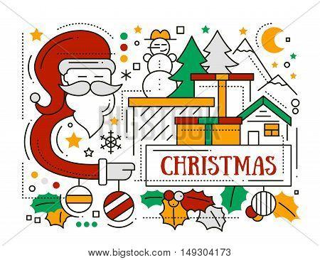 Merry Christmas line flat design card with holidays symbols - Santa Claus, Christmas tree, house, mistletoe