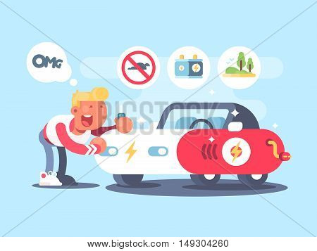 Electric car and happy owner. Advantage of electric vehicle. Vector illustration