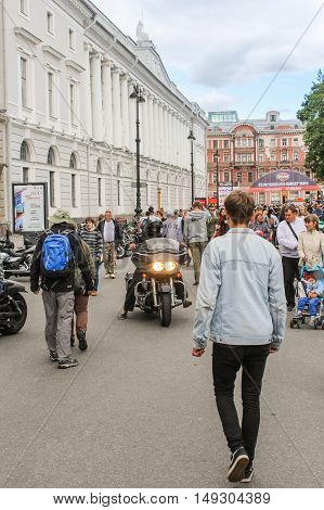 St. Petersburg, Russia - 12 August, Bikers coming to the festival,12 August, 2016. The annual International Festival of Motor Harley Davidson in St. Petersburg Ostrovsky Square.
