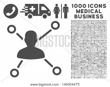 Gray Relations icon with 1000 medical business glyph pictograms. Collection style is flat symbols, gray color, white background.