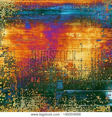 Vintage torn texture or stylish grunge background with ancient design elements and different color patterns: yellow (beige); green; blue; red (orange); purple (violet)