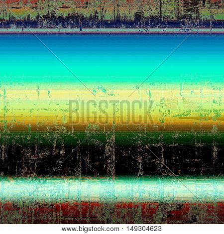Highly detailed scratched texture, aged grungy background. Vintage style composition with different color patterns: yellow (beige); green; blue; red (orange); black; white