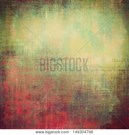 Vintage colorful textured background. Backdrop in grunge style with antique design elements and different color patterns: yellow (beige); brown; gray; green; red (orange); pink