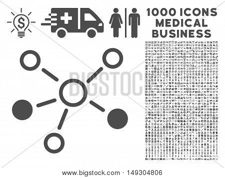 Gray Relations icon with 1000 medical business glyph design elements. Design style is flat symbols, gray color, white background.