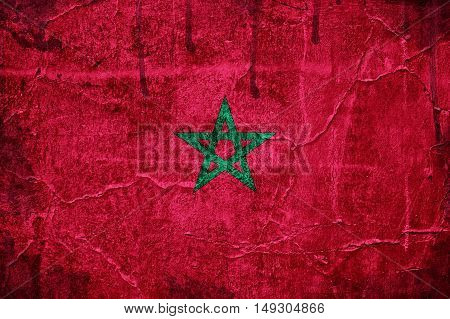 Flag of Morocco image is overlaid with grunge texture