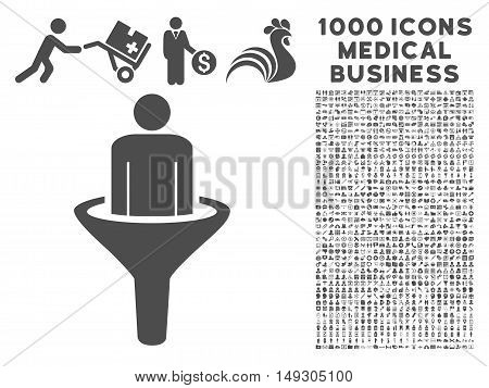 Gray Sales Funnel icon with 1000 medical business glyph pictograms. Design style is flat symbols, gray color, white background.