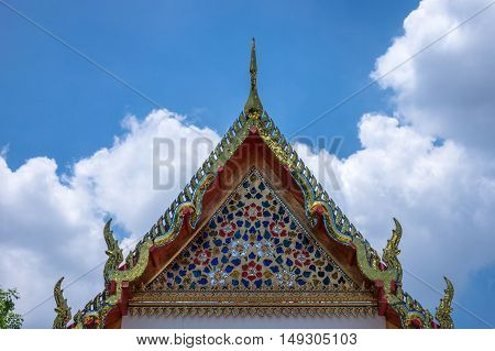 Buddhist Architecture Wat Pho in Bangkok temple is travel destination and landmark of Thailand