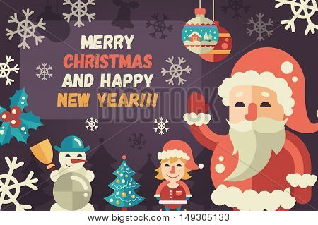 Merry Christmas and Happy New Year flat design modern vector greeting card illustration with Santa Claus, elf, X-Mas tree, snowman and other holiday symbols