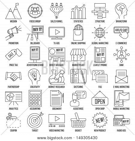 Marketing icons. Advertising and media signs. Marketplace, direct massage, coupon, billboard, statistics and other things. Line art vector illustration.