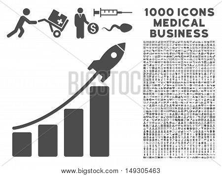 Gray Startup Sales icon with 1000 medical business glyph design elements. Design style is flat symbols, gray color, white background.