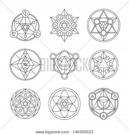 Sacred geometry linear contour elements. Alchemy, religion, philosophy, spirituality, hipster symbols and elements. Vector illustration. Geometric Shapes