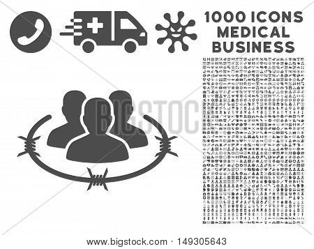 Gray Strict Management icon with 1000 medical business glyph pictograms. Collection style is flat symbols, gray color, white background.