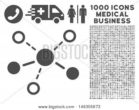Gray Structure icon with 1000 medical business glyph design elements. Design style is flat symbols, gray color, white background.