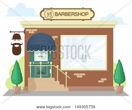 Facade barbershop. Signboard with emblem awning and symbol in windows. Concept front shop for design banner or brochure. image in a flat design. Vector illustration isolated on white background