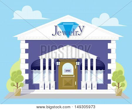 Facade jewelry store with a signboard awning and antique columns. Abstract image in a flat design. Concept front shop for design banner or brochure. Vector illustration isolated on blue background