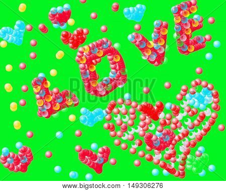Word love laid out colored bubbles on a green background and heartWord love laid out colored bubbles on a green background and heart