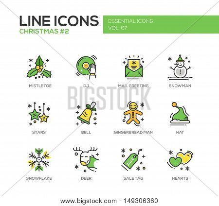 Christmas and New Year - set of modern vector line design icons and pictograms. Mistletoe, dj, mail greeting, snowman, stars, bell, gingerbread man, hat, snowflake, deer, sale tag hearts