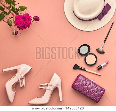 Fashion Lady Accessories Set. Fashion Cosmetic Makeup. Stylish Handbag Glamor Heels, Hat Rose. Trendy fashion Design. Top view. Woman Essentials. Fall Fashion. Vintage. Retro.Cosmetic Overhead.Minimal