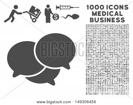 Gray Webinar icon with 1000 medical business glyph design elements. Set style is flat symbols, gray color, white background.
