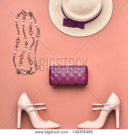 Fashion Lady Accessories Set. Fashion Stylish Handbag Clutch, Glamor Heels, Hat. Trendy fashion Design. Top view. Fall Fashion. Woman Outfit. Vintage. Retro. Elegant Creative Overhead. Minimal Concept
