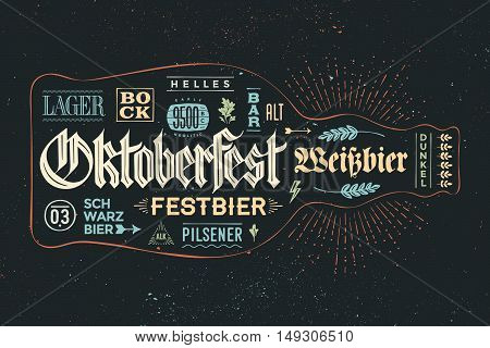 Bottle of beer with hand drawn lettering for Oktoberfest Beer Festival. Vintage drawing for bar menu, t-shirt print and beer themes. The name of beer, Varieties of beer in German. Vector Illustration