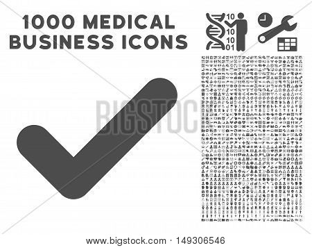 Gray Yes icon with 1000 medical business glyph pictograms. Collection style is flat symbols, gray color, white background.