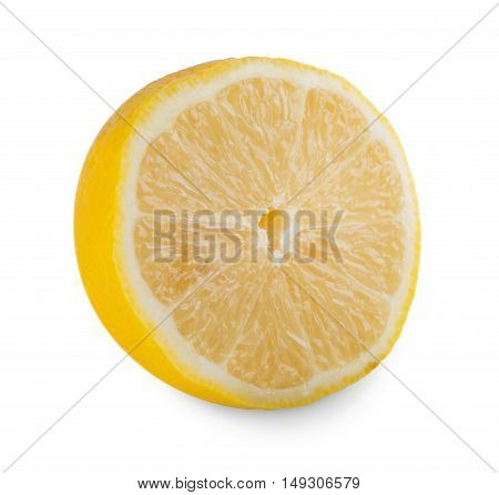 One fresh yellow lemon core isolated on white background. Closeup image of ideal round sore citrus fruit half, healthy natural organic food
