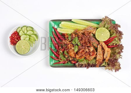 Spicy and  sour mixed herb salad with fried stir taro in tofu sheet and side dish are food for Vegetable festival of Chinese  as