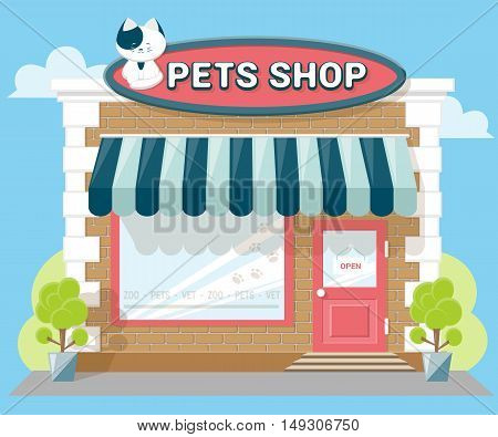 Facade pets or zoo store. Signboard with emblem cat awning and symbol in windows. Concept front shop for design banner or brochure. flat design. Vector illustration isolated on blue background